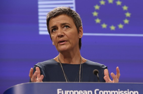 epa04524405 EU Commissioner for Competition Margrethe Vestager gives a press statement at European Commission headquarters in Brussels, Belgium, 11 December 2014. The Commission is reportedly fining envelope producers over 19 million euros in cartel settlement.  EPA/JULIEN WARNAND